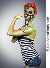 pin-up style zombie - Glamorous zombie girl. Portrait of a...