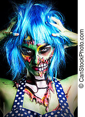 modern zombie girl - Fashionable zombie girl Portrait of a...