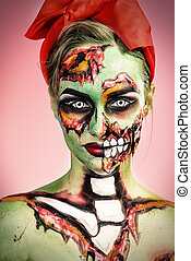 sugar skull style - Portrait of a pin-up zombie woman over...
