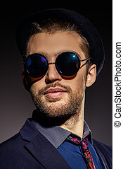 sunglasses for the man - Close-up portrait of a stylish...