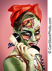 talking on the phone - Portrait of a pin-up zombie woman...