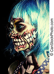 zombie in profile - Fashionable zombie girl. Portrait of a...