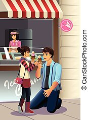 Father Daughter Eating Ice Cream - A vector illustration of...