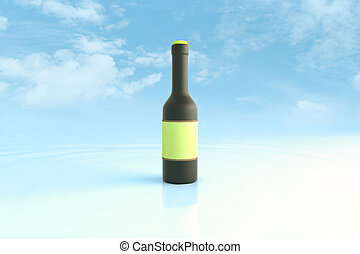 Bottle in sky - Black bottle with blank green label on blue...
