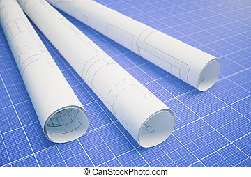 Paper with architectural plan blueprint - Paper rolls with...