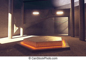 Hexagonal projection - Abstract concrete interior with...