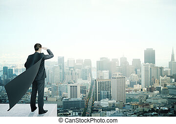 Businessman with black cape - Businessman with black...
