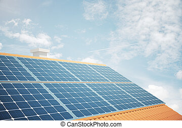 Solar panels sideview - Side view of solar panels on house...