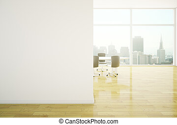 Meeting room blank wall - Conference room interior with...