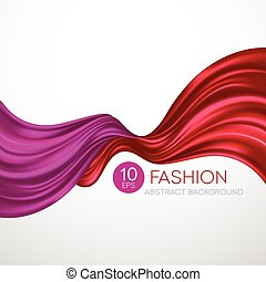 Red flying silk fabric. Fashion background. Vector illustration