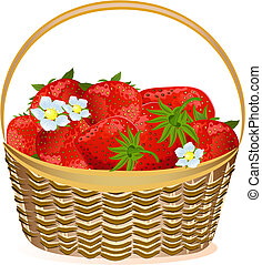 basket of strawberries with flowers - basket strawberries