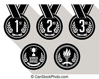 Medals Black and White - Medals with Ribbon Flat Set of...