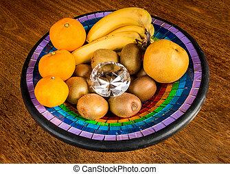 diamante, tazón, fruta