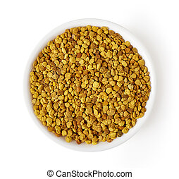 Bowl of bee pollen isolated on white, from above