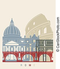 Rome skyline poster - skyline poster in editable vector file