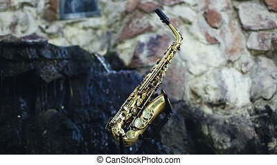 Saxophone Musical instrument set against the backdrop of a...