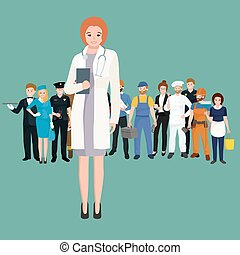 Woman doctor in white lab coat, researcher with folder...