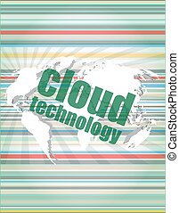 words cloud technology on digital screen, information technology concept vector quotation marks with thin line speech bubble. concept of citation, info, testimonials, notice, textbox. flat style trend design
