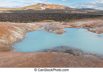 Krafla boiling crater lake - Boiling crater lake in the...