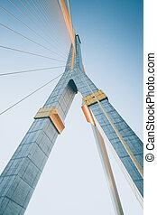 Mega sling Bridge,Rama 8, in bangkok Thailand filter effect...