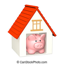 Bank account for buying a house - Conceptual image - bank...