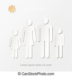 young family stylized sign - stylized sign made of paper or...