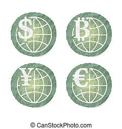 Crumpled slip of papers and a different currency icons