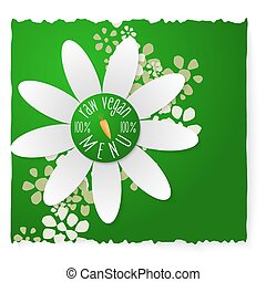 Abstract white flower and vegan icon