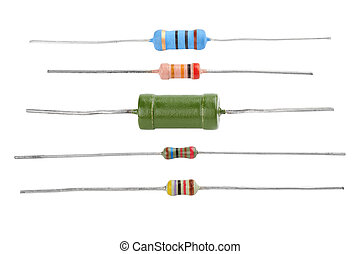 resistor - Different resistors isolated on a white...