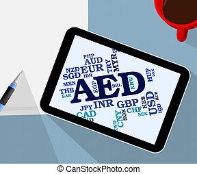 Aed Currency Represents United Arab Emirates And Coinage -...