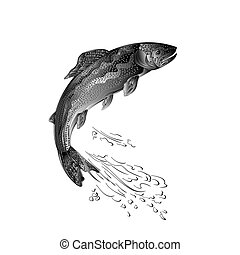 Trout jumps as wrought metal vintage vector.eps - Trout...