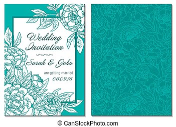 Wedding invitation green and white hand drawn peony flowers.