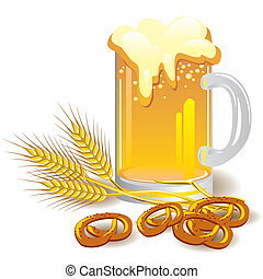 beer - vector image of a glass of beer with wheat and snacks...
