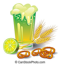 green beer - vector image of a glass of green beer with...