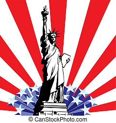 Statue of Liberty - vector image of American symbols of...