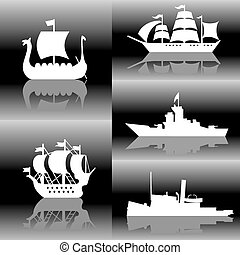 ships silhouette - set of vector silhouette images of...