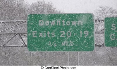 Traffic Sign During Snow Storm