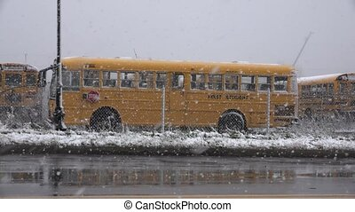 School Bus During Snow Storm