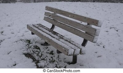 Park Bench During Snow Storm