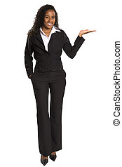 Portrait of a Happy business woman pointing her finger to your message