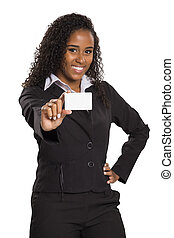Happy African American business woman holding visit card...
