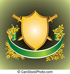 shield - heraldic shield of the ribbons and leaves