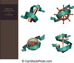 Set Marine Elements - Set of marine elements. With ribbons...