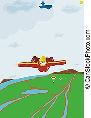 Skydiver - Sportsman skydiver in flight with a yet-open...