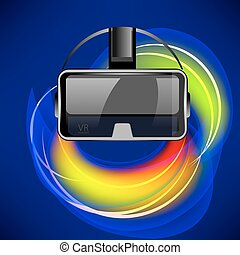 Virtual Reality Headset on Blurred Colorful Background