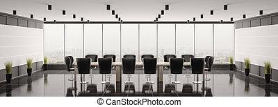 Modern boardroom panorama 3d render - Modern boardroom...
