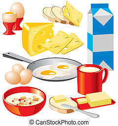 dairy products - set of vector images of dairy products for...