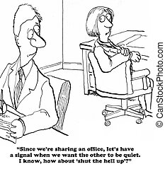 Shut Up - Business cartoon about a lot of noise in the...