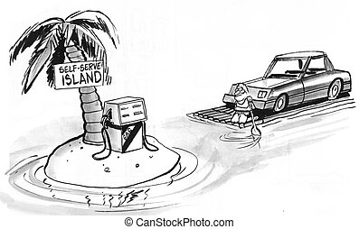 Self Serve - Cartoon about the self serve island at the gas...