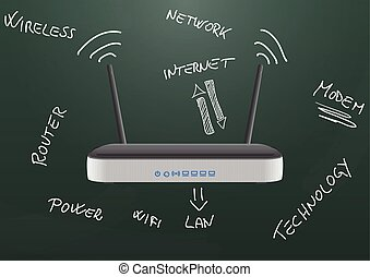 modem chalkboard - illustration of modem router wireless on...